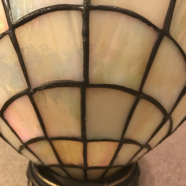 Vintage Stained Glass Clam Shell Lamp - Image 7 of 11