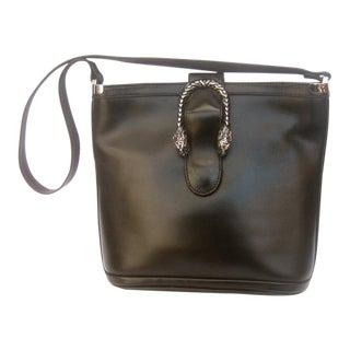 1970s Gucci Italy Sterling Silver Ebony Leather Tiger Emblem Handbag For Sale