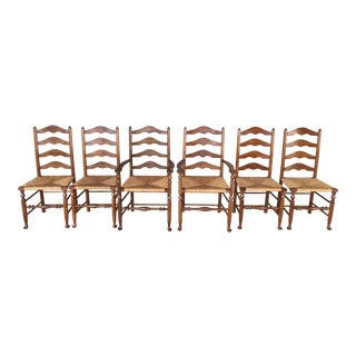L. Stickley Cherry Valley Ladder Back Rush Bottom Dining Chairs - Set of 6