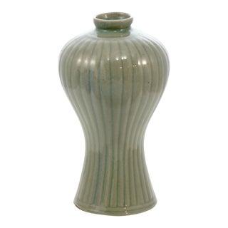 Ribbed Sage Green Vase For Sale