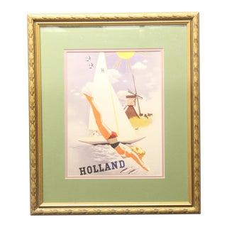 1980s Holland Travel Framed Poster Print For Sale