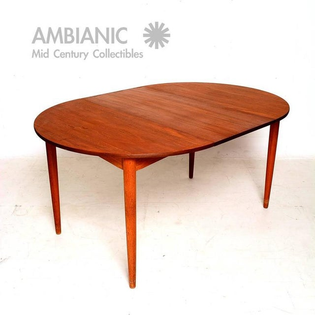 Brown Danish Modern Teak Round Oval Dining Table For Sale - Image 8 of 8