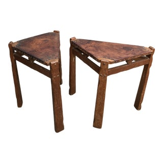 A. Brandt & Company Western Oak Mission Style Rectangle End Corner Tables - a Pair For Sale