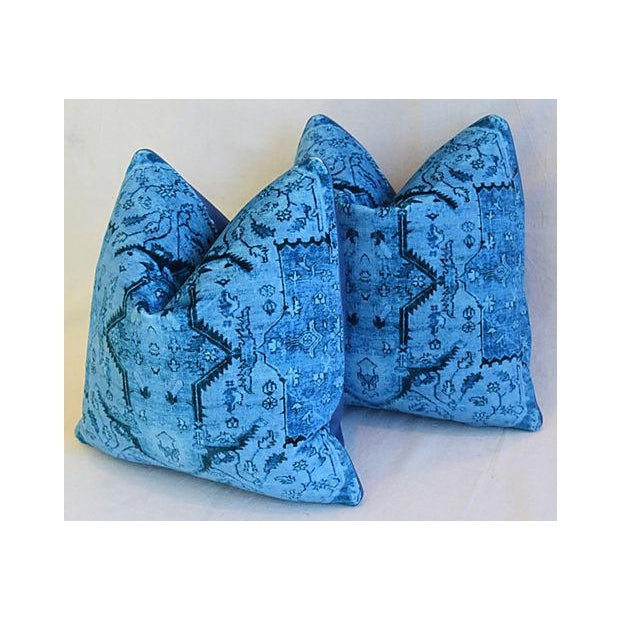 """Ralph Lauren Royal Blue Velvet Tapestry & Edelman Leather Pillows 20"""" Square - Pair For Sale In Los Angeles - Image 6 of 12"""