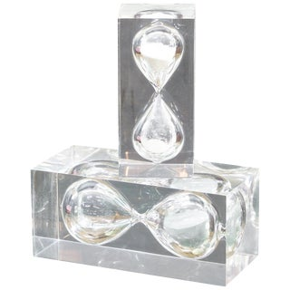 1970s Pair of Vintage Lucite Hourglass Sculpture Style of Charles Hollis Jones For Sale