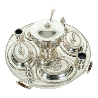 English Silver Plated Revolving Serving Dish Set For Sale