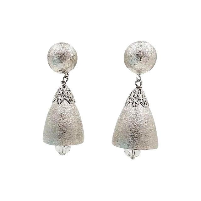 1970s Napier Silvertone Bell Earrings For Sale