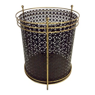 Mid Century Black Lacquer Basket For Sale