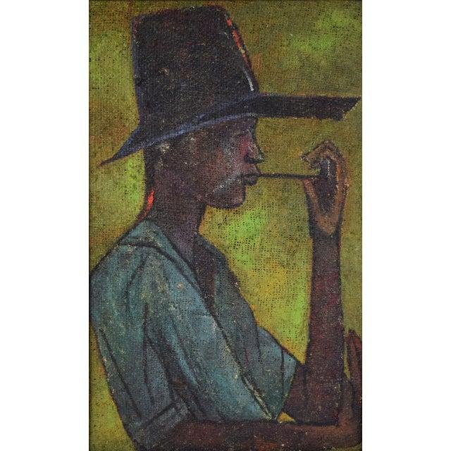 Vivianne de Buren (Switzerland/Haiti, 1927-2016) oil painting on coarse burlap, depicting a man in floppy hat smoking a...