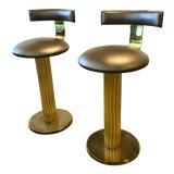 Image of 1980s Vintage Brass Barstools-Set of 2 For Sale
