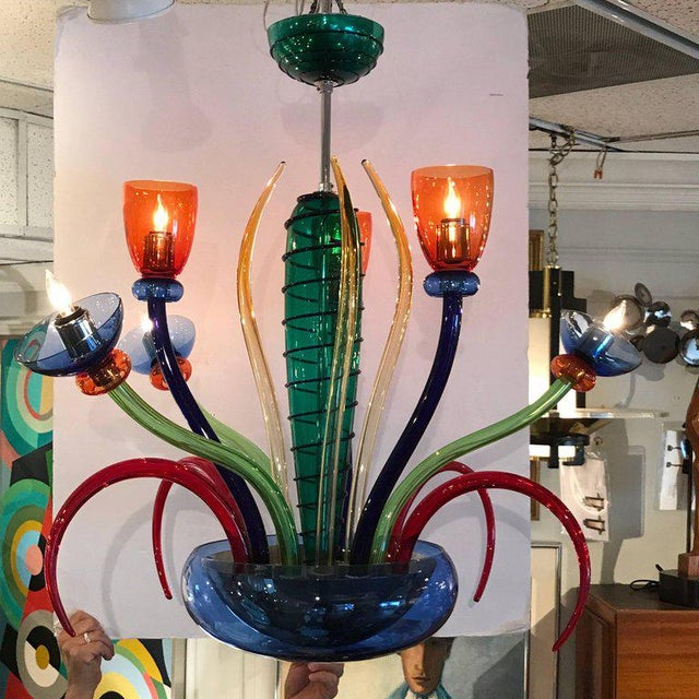 Glass Colorful Italian Artimede Ve-Art Glass Chandelier in the Manner of Gio Ponti For Sale - Image 7 of 13