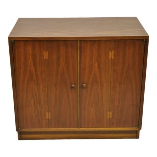 "Lane Acclaim Mid Century Modern Dovetail 2 Door 32"" Walnut Cabinet Chest For Sale"