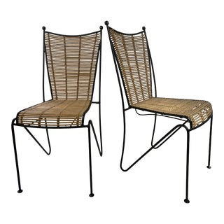 Ficks & Reed Mid-Century Modern Bamboo & Rod Iron Dining Chairs - Set of 2 For Sale