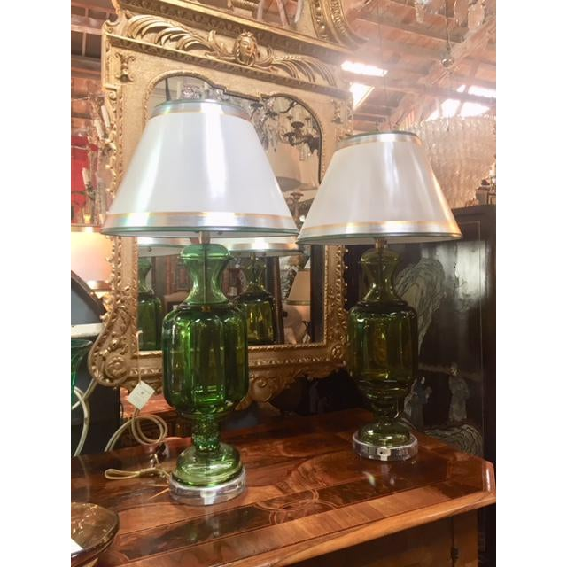 1960s Vintage Emerald Green Murano Lamps Marbro Company - a Pair For Sale - Image 11 of 11