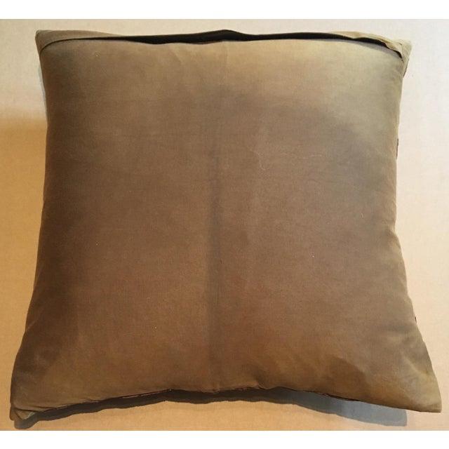 Brown Velvet & Gold Silk Swirl Pillow For Sale - Image 4 of 4