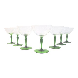 1940s Victorian Emerald Green Floral Etched Wine Glasses - Set of 7 For Sale