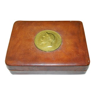 19th Century Italian Leather Snuff/Tobacco Box W/Napoleon III Empereur Gold Coin For Sale