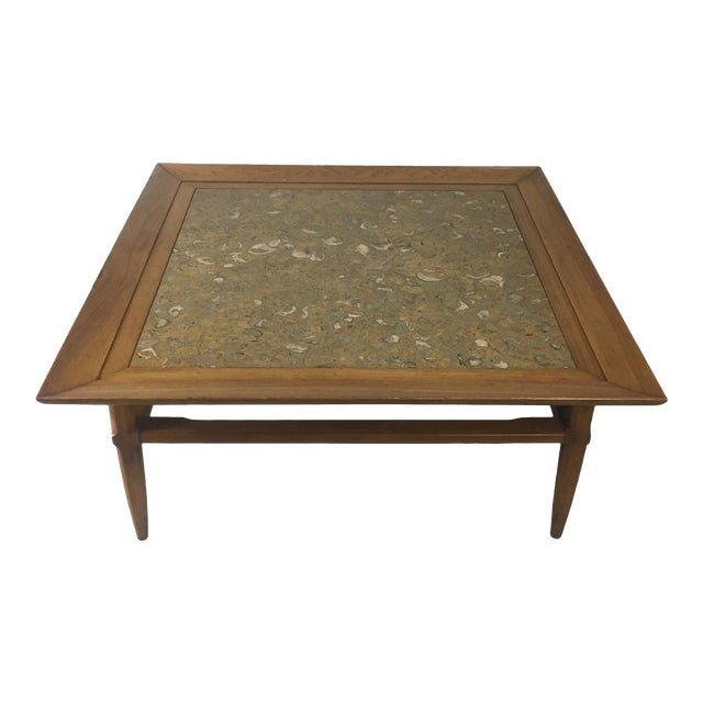 "Tomlinson Marble and Pecan Mid-Century ""Sophisticate"" Coffee Table For Sale"
