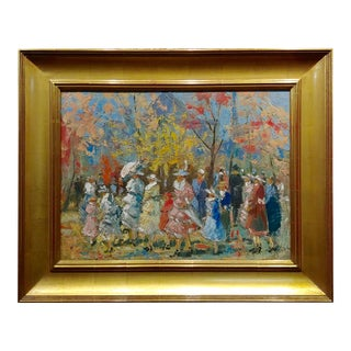 French Impressionist - Ladies With Parasol in an Outdoor Party -C1900s For Sale