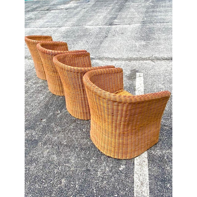 Wood Vintage Boho Chic Rattan Barrel Chairs -Set of 4 For Sale - Image 7 of 13