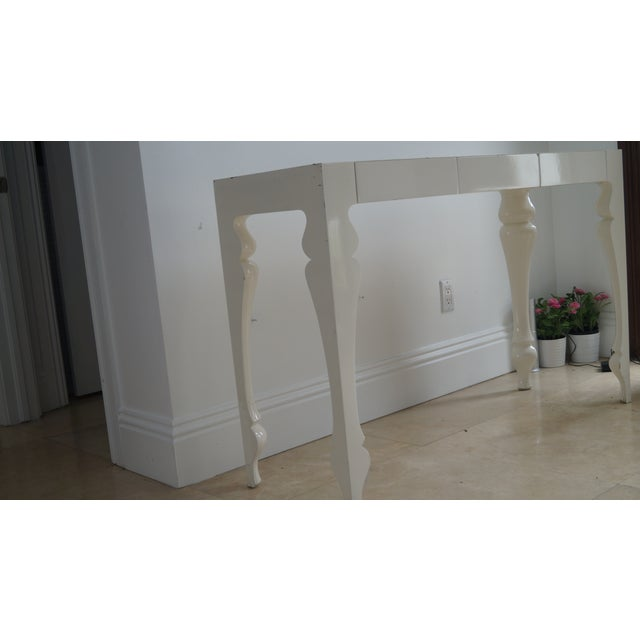 Hollywood Regency Reeves Design Ivory Wood Console Table For Sale - Image 3 of 7