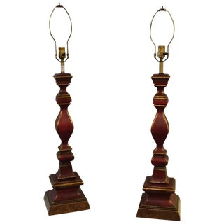 Vintage Italian Tall Paint Decorated Table Lamps - A Pair For Sale