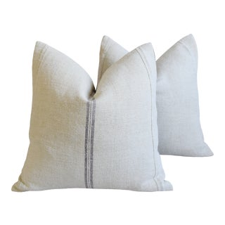 """French Country Pale Purple Striped Grain-Sack Feather/Down Pillows 22"""" Square - Pair For Sale"""