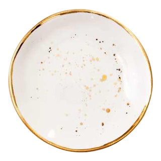 Suite One Studio Ring Dish in White With Gold Splatters For Sale