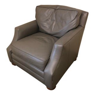 Mint Blue Leather Club Chair For Sale