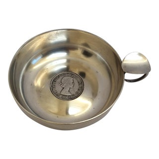 Silver Wine Taster With Antique Silver Coin For Sale