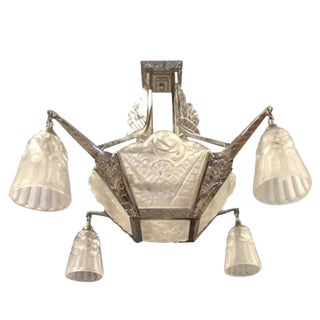 Degue Signed French Art Deco Chandelier For Sale