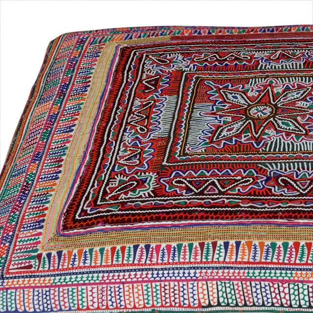 Modern Rabari Textile Upholstered Ottoman For Sale - Image 3 of 6