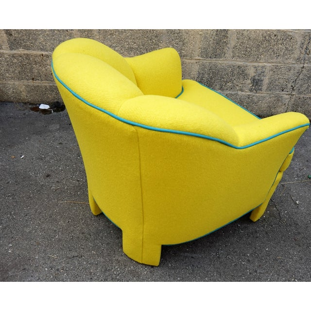 Vintage 80s Yellow Club Chair & Ottoman - Image 6 of 8