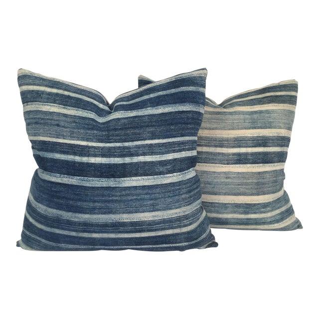 Vintage African Indigo Pillows - a Pair - Image 1 of 4