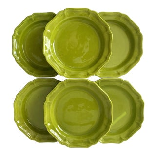 6 Baldelli Chartreuse Italian Faience Salad/Soup Plates For Sale