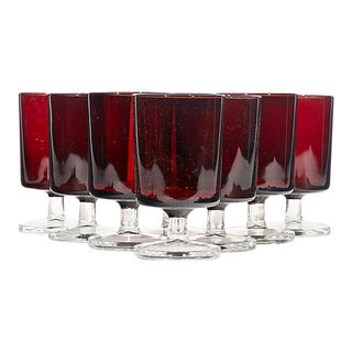 1960s Red & Clear French Stems - Set of 8