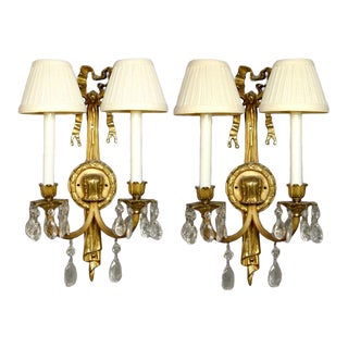 French Crystal Candelabras - A Pair For Sale