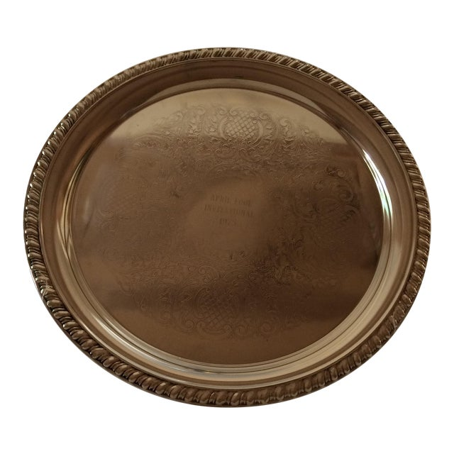 1975 Engraved April Fools Invitational Silver Plate Tray For Sale