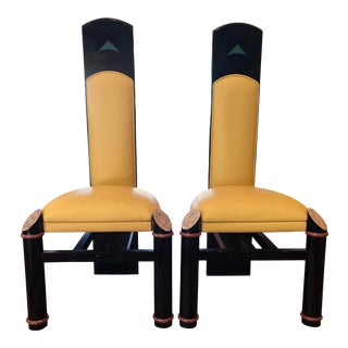 Unusual Scottish Art Deco Era Kid Leather Dining Chairs Set of Two For Sale