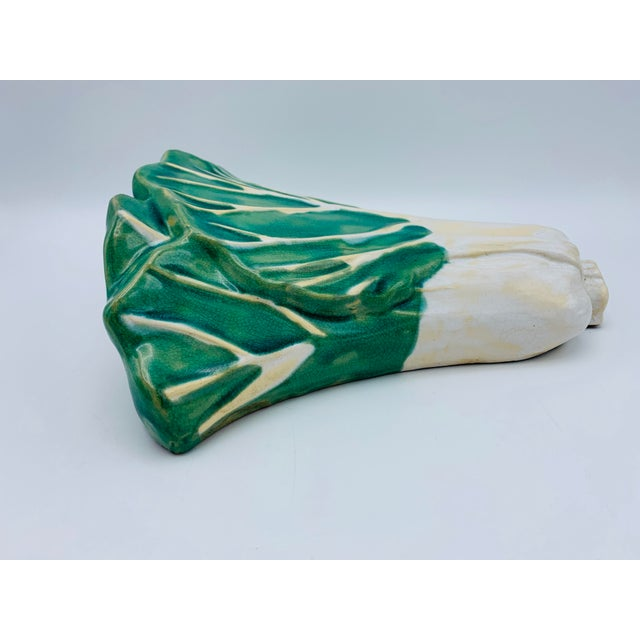 Green 1960s Vintage Green and White Ceramic Bok-Choy Wall Pocket For Sale - Image 8 of 11