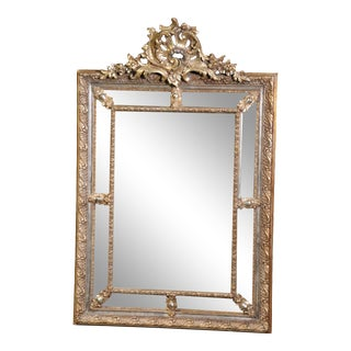 Antique 1880s Era French Louis XV Giltwood and Gesso Carved Cushion Mirror For Sale
