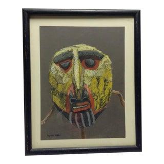 Original Bjorn Rye 1942-1998 African Mask Signed Pastel Chalk Drawing Tonalism For Sale