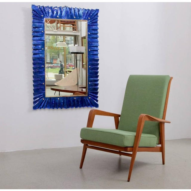 1970s 1 of 2 Huge Brass and Blue Murano Glass Mirror For Sale - Image 5 of 6