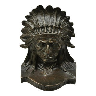 Antique Solid Bronze Sitting Bull Native American Chief Doorstop For Sale