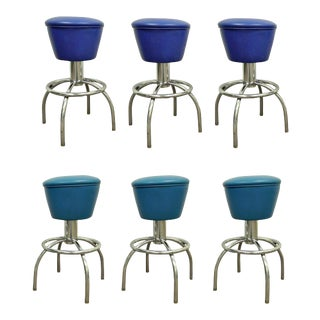 6 Vintage Mid Century Modern Chrome & Vinyl Swivel Bar Counter Stools Chairs