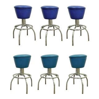 Vintage Mid-Century Modern Chrome & Vinyl Swivel Bar Counter Stools Chairs - Set of 6