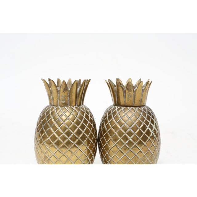Brass Brass Pineapple Salt & Pepper Shakers - A Pair For Sale - Image 7 of 9