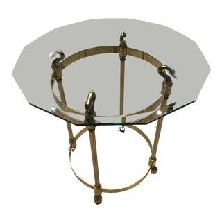 Italian Mid-Century Brass Swan's Head Table W/ Geometric Cut Glass For Sale