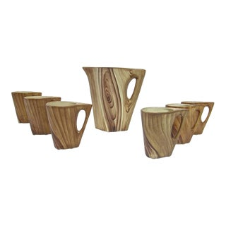 1950s Vallauris Faux Bois Ceramic Pitcher & Cups - Set of 7