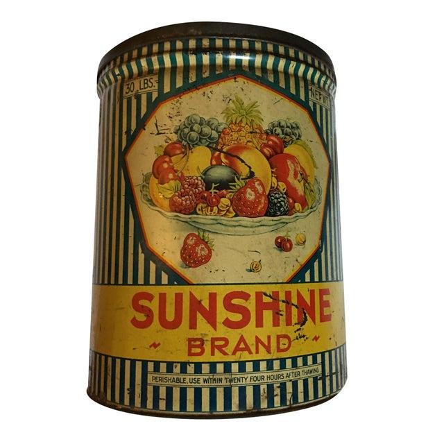 Vintage Sunshine Brand Fruit Tin For Sale